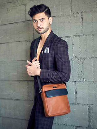 Brown-Black Satchel For Men