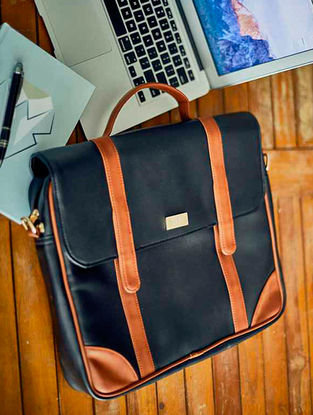 Black-Brown Laptop Bag For Men