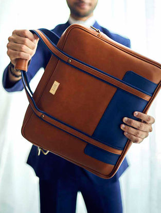 Brown-Blue Laptop Bag For Men