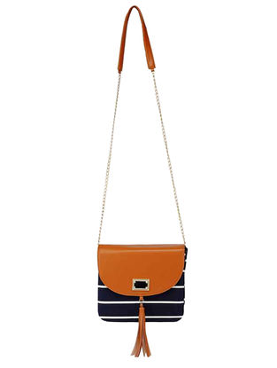 Blue Striped Cotton Sling Bag
