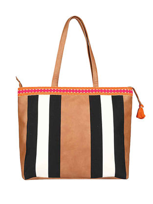Brown-Multicolored Tote with Tassels