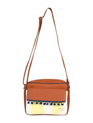 Brown-Blue Cotton Sling Bag with Pom-Poms