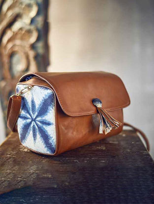 Brown-Blue Cotton Sling Bag with Tassel