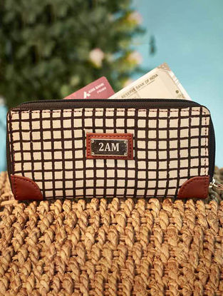 Brown Checkered Cotton Wallet