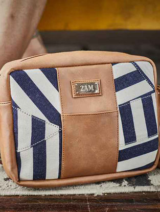Brown-White Striped Cotton Sling Bag