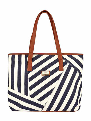 Blue-White Striped Cotton Tote
