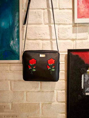 Black-Red Rose Motif Embroidered Sling Bag