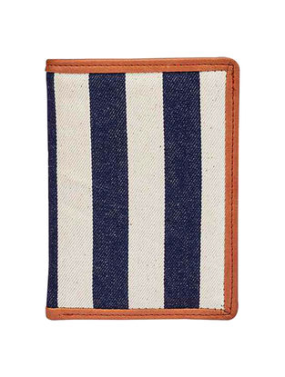 Blue-White Striped Canvas Passport Cover