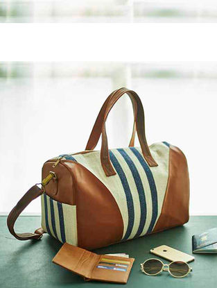 Tan-Multicolored Striped Canvas Duffel Bag
