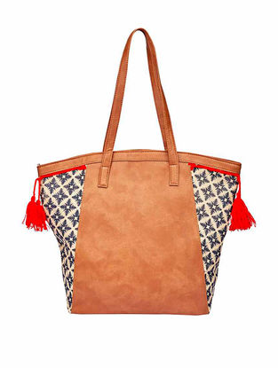 Tan-Blue Canvas Tote with Tassels