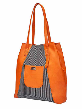 Tan-Blue Striped Canvas Tote