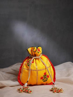 Yellow Handcrafted Chanderi Cotton Potli