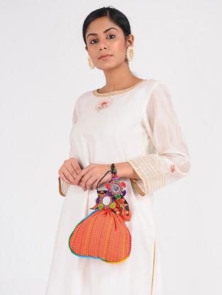 Orange-Multicolored Cotton Silk Potli