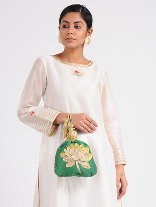 Green Embroidered Cotton Silk Potli
