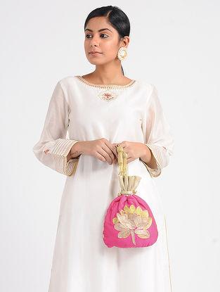 Pink Embroidered Cotton Silk Potli