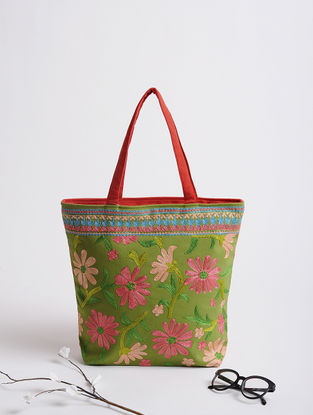 Green-Pink Thread-Embroidered Cotton Tote