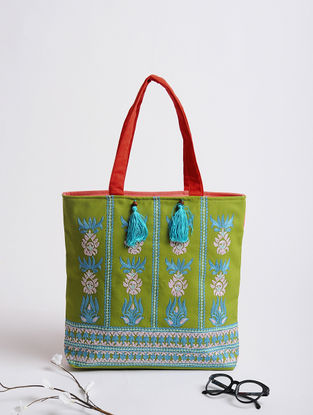 Green-Blue Assamese Thread-Embroidered Cotton Tote
