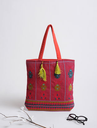 Pink-Multicolored Assamese Thread-Embroidered Cotton Tote