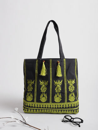 Green Assamese Thread-Embroidered Cotton Tote