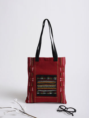 Maroon-Black Naga Thread-Embroidered Cotton Tote