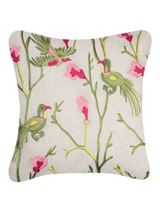 Green-Pink Embroidered Cotton Cushion Cover with Bird Motif (16in x 16in)