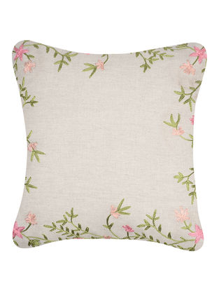 Green-Pink Embroidered Cotton Cushion Cover (16in x 16in)
