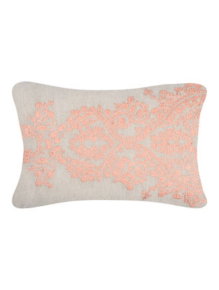 Beige-Pink Embroidered Cotton Cushion Cover (20in x 12in)