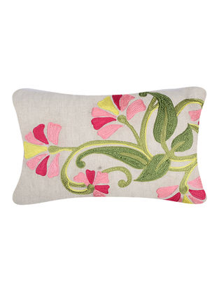 Green-Pink Embroidered Cotton Cushion Cover with Floral Motif (20in x 12in)