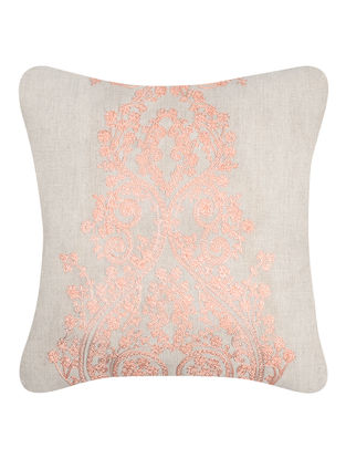 Beige-Pink Embroidered Cotton Cushion Cover (16in x 16in)