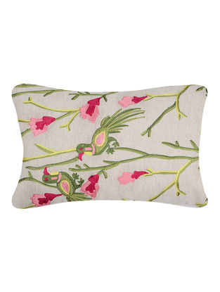Green-Pink Embroidered Cotton Cushion Cover with Bird Motif (20in x 12in)