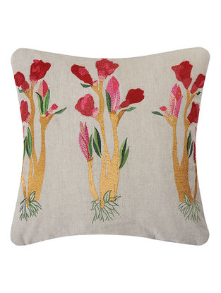 Red-Green Embroidered Linen Cushion Cover with Floral Motif (L:16in, W:16in)