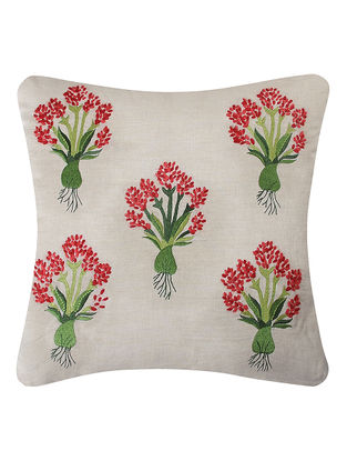 Red-Green Embroidered Linen Cushion with Floral Motif (L:18in, W:18in)