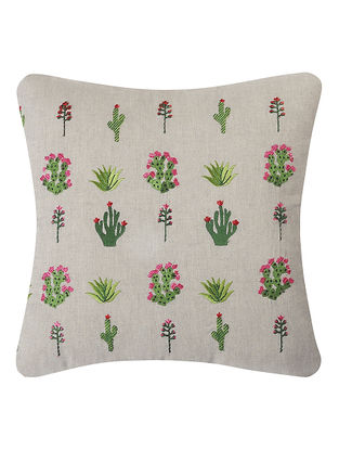 Red-Green Embroidered Linen Cushion with Floral Motif (L:16in, W:16in)
