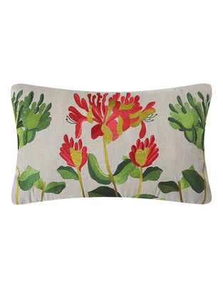 Red-Green Embroidered Linen Cushion with Floral Motif (L:20in, W:12in)