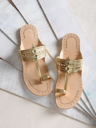 Golden Handcrafted Leather Kolhapuri Flats