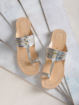 Silver Handcrafted Leather Kolhapuri Flats-36