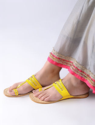Mustard-Beige Handcrafted Leather Kolhapuri Flats
