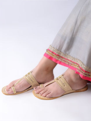 Beige Handcrafted Leather Kolhapuri Flats