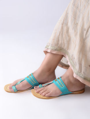 Turquoise-Beige Handcrafted Leather Kolhapuri Flats