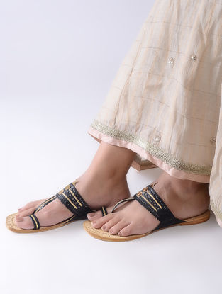 Black-Beige Handcrafted Leather Kolhapuri Flats