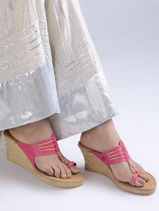 Pink Handcrafted Jute Kolhapuri Wedges
