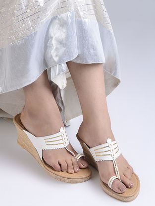 White Handcrafted Jute Kolhapuri Wedges