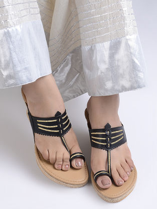 Black Handcrafted Jute Kolhapuri Wedges