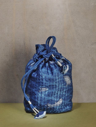 Indigo Dyed Quilted Dabu Printed Mashru Silk Potli with Tassle Dori
