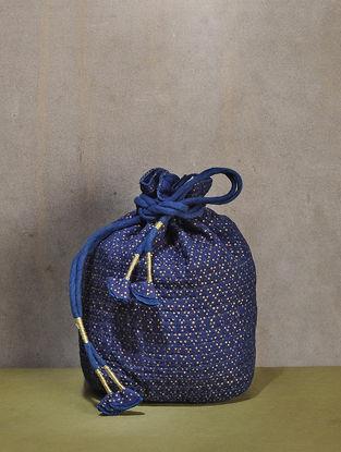 Indigo Dyed Quilted Mulbery Silk Potli with Tassle Dori