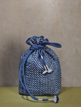 Indigo Dyed Quilted Dabu Printed Chanderi Potli with Tassle Dori