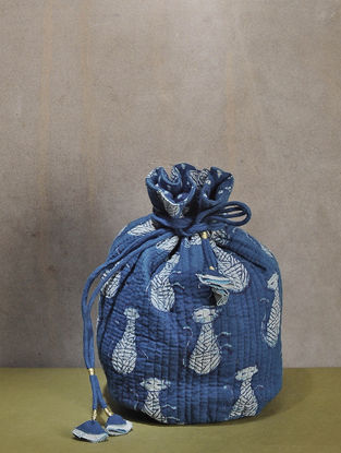 Indigo Dyed Dabu Printed Quilted Cotton Potli with Tassle Dori