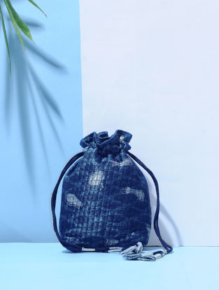 Indigo Dyed Printed Mulberry Silk Quilted Potli with Tassle Dori