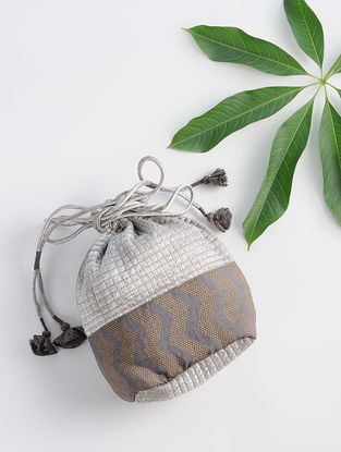 Grey Dabu-printed Silk Potli with Handmade Tassels