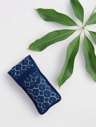 Indigo Dabu-printed Cotton Mobile Cover